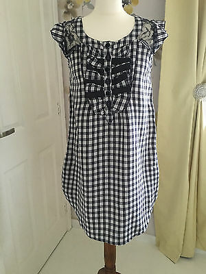 River Island Navy Blue & White Cotton Ruffle Front Tunic Style Dress – Uk 6