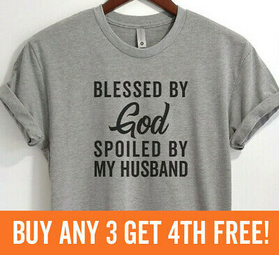Blessed By Jesus Spoiled By My Husband Religious Couple Crop Top tees Shirt T