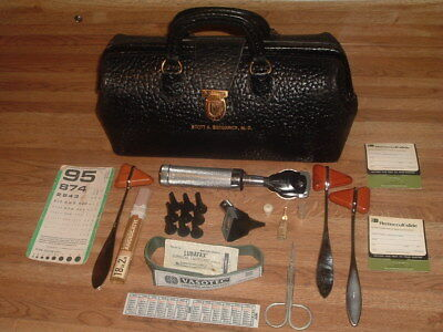 Vintage Lilly Doctor's Leather & Brass Medical Travel Md Bag W/ Instruments Nice