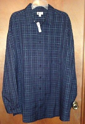 """Men's """"Haggar"""" XLT, Two-Tone Blue, Button Front, Long Sleeve Casual Shirt"""