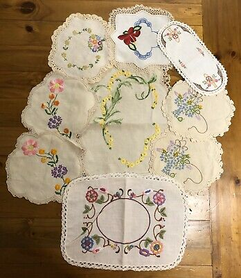 Nine Vintage Hand Embroidered Linen Doilies