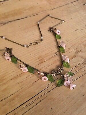 art deco Bohemian Vintage Style , Pink Glass Flower bead Necklace Paste