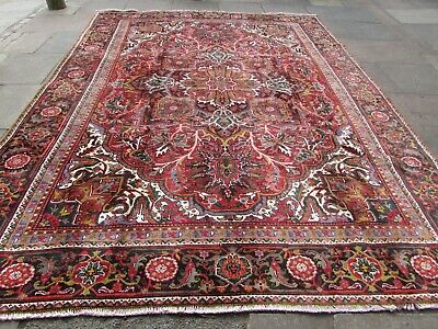 Vintage Hand Made Traditional Rug Oriental Wool Red Pink Large Carpet 365x277cm