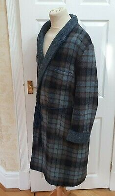Men's Vintage Wool Dressing Gown with Rope Braid Detail Large (w)