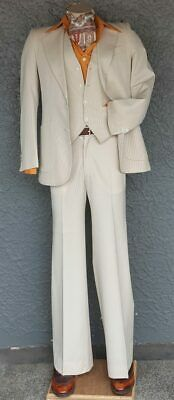 """1970's 3 piece Cream Pinstriped Suit, with flares, by 'Frieze' size XS( 29"""")"""