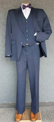 1970's 3 piece suit by 'Flair', navy fine pinstriped, size M- L pant waist is...