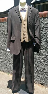 Pinstriped Brown 2pc suit, Gatsby Inspired by 'Anson's', Size S