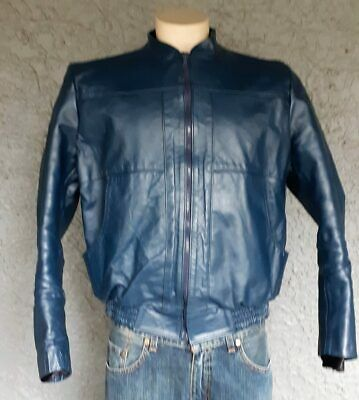 Leather jacket, blue, made in Mexico by 'Arte Piel' size M