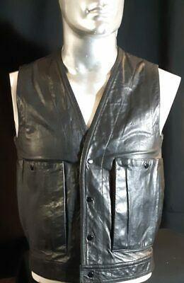 Leather Bike vest 1980s by 'Birds' USA size XS -S