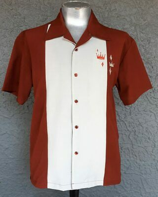 Steady Clothing Bowling Shirt, Contrast Crown, Rust.
