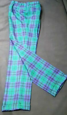 Wool Green/ purple tartan Golf Pants, 1960's, by 'Brooks and Brothers', size 35""