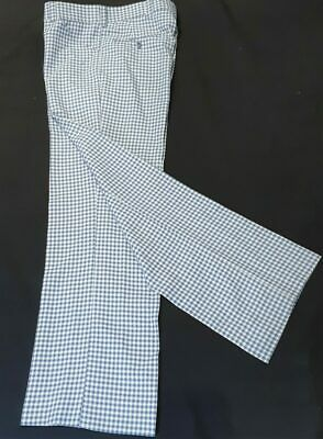 Checked Golf Pants, Flares,1970's, polyester, light blue/ cream, size 34""