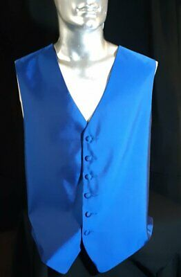 Satin polyester waistcoat, electric blue, 1980's by 'Tuxedo Junction', USA si...