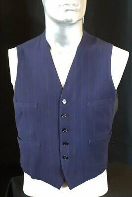1940's Navy pinstriped waistcoat with mattress ticking lining, USA, size M-L