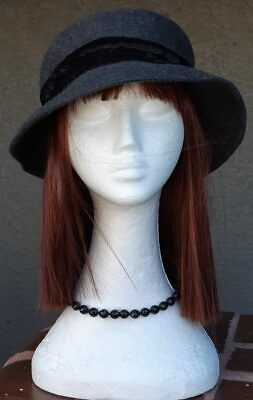Wool felt grey 1930's inspired hat circumference 57cm