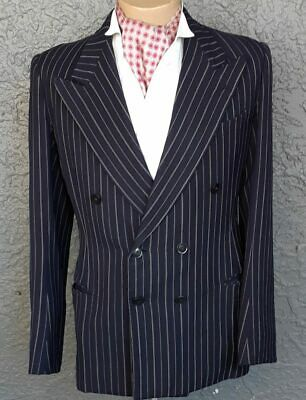 Navy pinstriped double breasted jacket, 1940's, size M-L