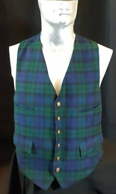 Wool Black Watch tartan waistcoat by 'Brown's Of Bermuda', Britain, size L