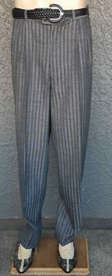 Pinstriped gathered front pant, 1980's, Wool/ polyester, size 38""