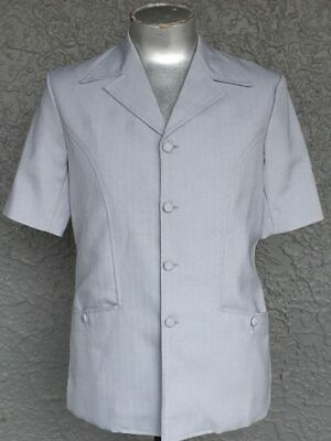 Safari Jacket, Light blue pinstriped Polyester, 1970's, by 'Classic Tailor Ma...