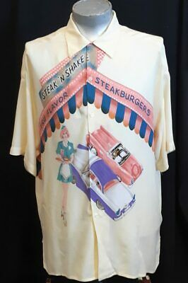 Bowling style shirt with fun Diner Print, Rayon, USA, By 'Quaterback' size XXL.