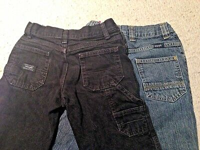 2 Pair Boys Wrangler Jeans ~ Black & Navy Blue Size 8 Regular