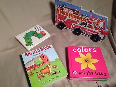 Childrens Book set lot The Very Hungry Caterpillar Big red Barn Board Fire Truck