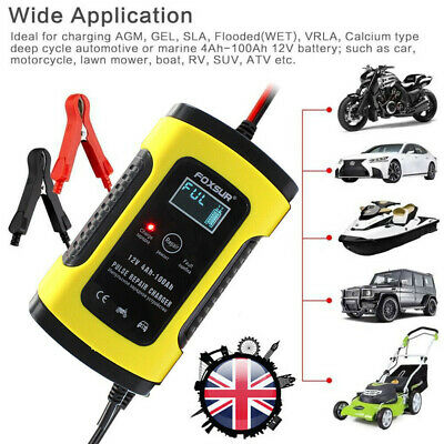 FOXSUR 12V 5A Smart Motorcycle Car Battery Charger Pulse Repair Maintainer LCD
