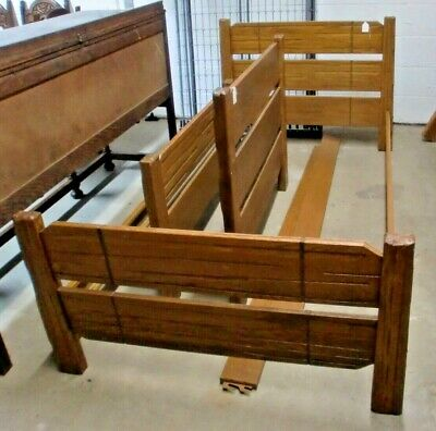 Ranch Oak Pair of Twin Size Beds with Side Rails