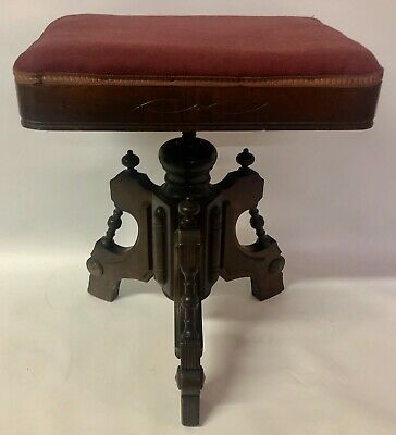 Antique 1890s Tonk Wood Piano Organ Stool New York Chicago Swivel Red Cloth Seat