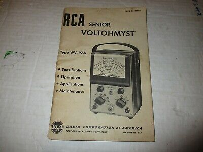 RCA Senior Voltohmyst Type WV-97A Original Manual 1953