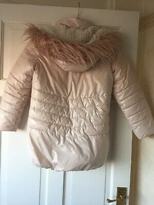 Next Girls Puffa Coat Age 9 Pink Warm Winter