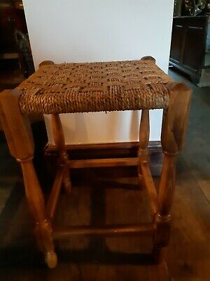 Vintage Solid Wood Stool Woven Sea Grass  Rattan Wicker Footstool Boho Chic 70'S