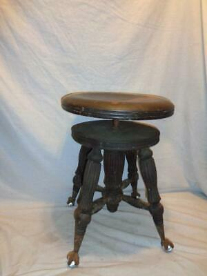 Vtg Antique Wooden Swivel Piano Stool Glass Ball & Claw Feet Tonk & Co New York
