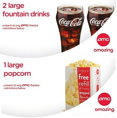AMC Theaters - 2 Large Drinks + 1 Large Popcorn -Expires 6/30/20 *FAST DELIVERY*
