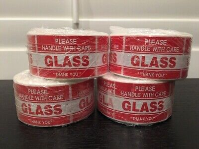 """2000 2x3"""" **Please Handle With Care--GLASS** Sticker (4-Rolls 500 Labels)"""
