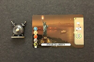 7 Wonders Duel Metal Military Conflict token + Statue of Liberty promo card