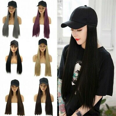 AU Fashion Cool Girl Long Straight Hair Synthetic Cosplay Wigs With Baseball Cap