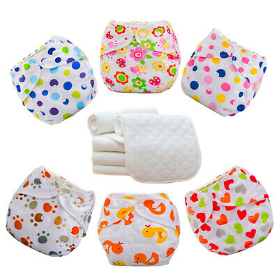 Lot Baby Washable Cloth Diaper Nappies Adjustable Reusable 5 Diapers+5 INSERTS