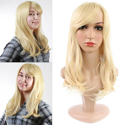 Women Lady Girl Light Blonde Long Curly Wavy Hair Synthetic Ombre Wig With Bangs