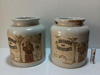 2x Vintage Moutarde des Chanoines old monastry french mustard jar bottles