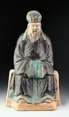 *Sc*A Scarce Chinese Pottery Figure Of A Seated Official, Ming Dynasty!