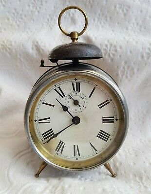 Antique-Silver Plated Depose Brevete Bedside Alarm Clock-Japey Freres-GWO-c1890s