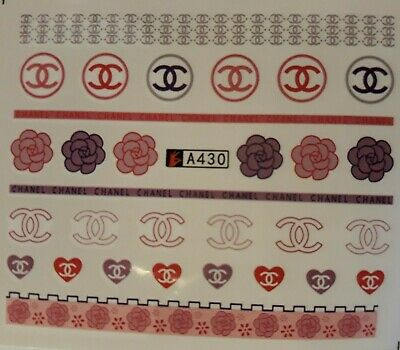 ❤️26 Stickers Logo Marque Bijoux Ongles  Manucure Nail Art