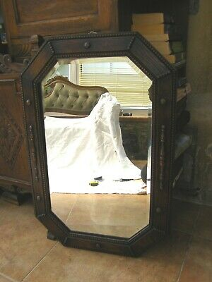 Antique Carved Oak Wall Mirror With Original Beveled Looking Glass-circa 1910