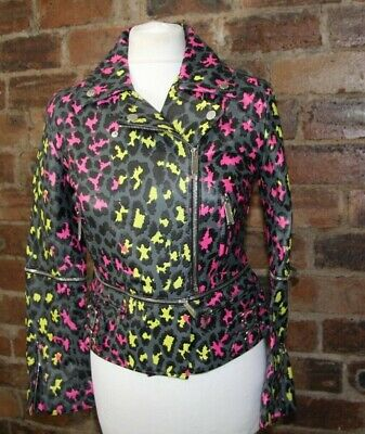 Christopher Kane Grey/Pink/Yellow Leopard Print Leather Biker Jacket Size 8 Nwt