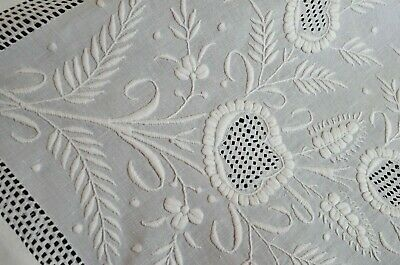 Vintage Heavily Embroidered LINEN TABLECLOTH Tea Cloth w/ DRAWN WORK VV222
