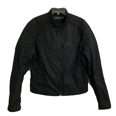 Polo Ralph Lauren Motorcycle Jacket Black Mens Large Padded Elbow Patch