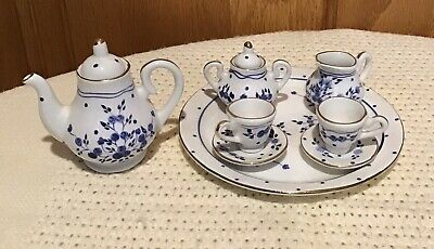 10pc. Miniature Tea Set White With Delft Blue Flowers Mini Porcelain Ceramic