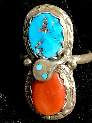 Zuni Turquoise, Coral and Sterling Silver Ring by Effie Calabaza Women's Size 8