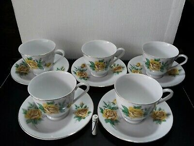 5x set of vintage porcelain tea cups & Saucers yellow roses China